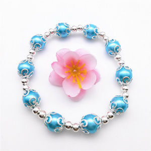 Jewelry - Silver Blue Pearl Stretch Bead Bracelet 10mm